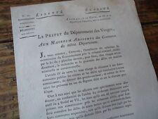 LORRAINE VOSGES REVOLUTION 1800 CIRCULAIRE RECHERCHE DES DELITS CRIMINEL