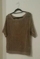 RIVER ISLAND Womens Summer Chic Beige Net Knit Short Sleeve Sweater Jumper 10 36