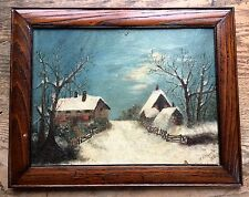 Dated 1908 SNOW Winter scape OIL PAINTING on Board H I Morris Arts & Crafts VTG