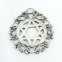 Fine Vintage Sterling Silver Magen Star Of David Judaica Ornate Pendant Necklace