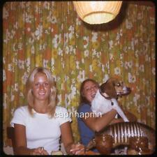 Pretty 70s Girls With Dog And Armadillo At Restaurant Tabel Vtg 1973 Slide Photo