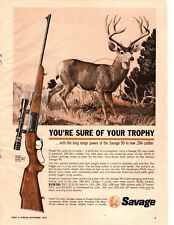 1964 Savage 99 .284 Caliber Rifle Buck Vintage Print Ad
