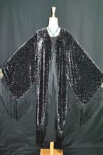 Art to Classic Silver Grey Leopard Kimono Fringe Jacket Velvet Coat Duster New