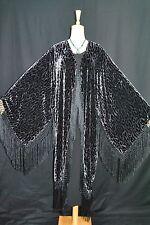 Art to Classic Silver Grey Leopard Kimono Fringe Jacket Velvet Coat Duster New