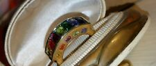 Ross Simons 18k Yellow gold/Sterling Silver multi gemstone Rainbow Band ring 8