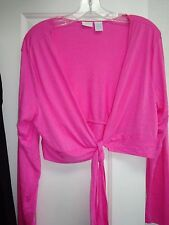 In Due Time Maternity Blouse Jacket Pink XL Rayon Poly Tie in Front Long Sleeve