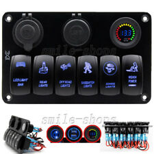 6 Gang Waterproof Car Marine Boat Circuit Blue LED Rocker Switch Panel Breaker