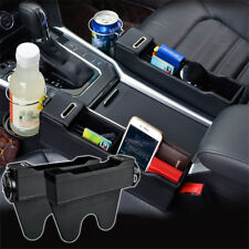 2x Leather Car Storage Box Left / Right Seat Gap Catcher Cup Phone Organizer Bag