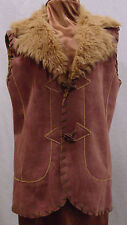 ELEMENTS BY TAIFUN COLLECTION LADIES SUEDE VEST W/ FAUX FUR COLLAR SIZE 12 NEW