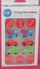 Transportation Edible Sugar Cupcake Toppers,Wilton,Decoration,Multi-Color,Wheels