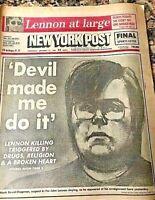 """New York Post Dec 10th 1980 John Lennon Killed-""""Devil made me do it"""" headline"""