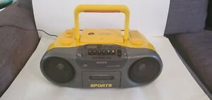 Sony CFD-970 Water Resistant Sports Yellow Boom Box AM FM CD Cassette Tested