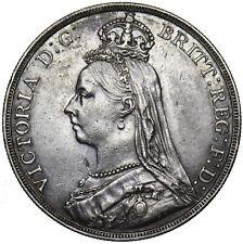 1891 CROWN - VICTORIA BRITISH SILVER COIN - V NICE