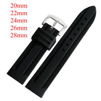 20/22/24/26/28mm Mens Black Silicone Watch Strap Band Military Sport Waterproof