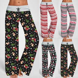 Womens Christmas Reindeer Palazzo Pants Nightwear Ladies Pajamas Lounge Trousers