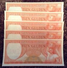 Suriname Banknote Set. 5 X 10 Gulden. Unc. Dated 1963. Consecutive Serials.