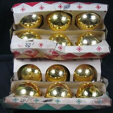 "2 Boxes of 6 Gold Corby 2 1/2"" Ornaments"