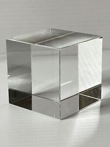 Vintage crystal cube paperweight