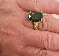 Vintage Jewellery Gold Ring Peridot White Sapphires Antique Deco Jewelry 10 U