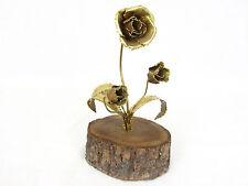 "Unique Rustic Folk Art Wood and Brass Roses Metal Sculpture w/ Tree Bark 6-3/4"""