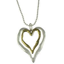 Matte silver and antique brass colour large double heart pendant long necklace