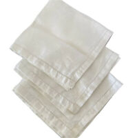 """Vintage Damask Napkins 3 Fler de Lis Design 1/2"""" Hemstitch Edge  20"""" White Linen"""