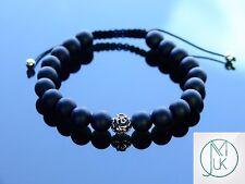 Matt Onyx Om Sterling Silver Natural Gemstone Bracelet 7-8'' Macrame Healing