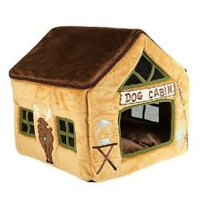 New Brown Deer Dog Cabin Pet Dog Cat House Beds Kennel Puppy Tent Size L
