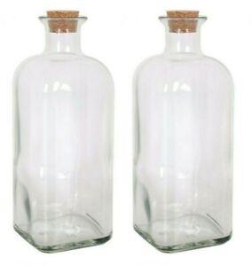 2x FRASCA 1L Glass Bottle with cork TAP wine CARAFE liquor olive oil wine