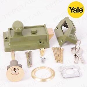 Yale Essential Traditional Nightlatch  60mm Polished Chrome/Brass/Green