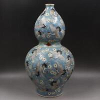 CHINESE OLD MARKED BLUE FAMILLE ROSE CRANES PATTERN PORCELAIN DOUBLE-GOURD VASE