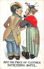 POSTCARD  COMIC   Couple  Rags  Price of  Clothes