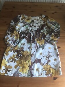 TU Size 14 Brown White Floral Tunic Dress Sheer Sleeves Round Neck