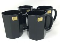 Set of 4 Black Mugs Arcoroc Octime Black Handled Mug France Octagonal