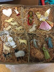 alte Krippenfiguren- Weihnachsfiguren Engel, Schafe, Jesuskind usw. siehe Bilder