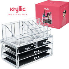 Acrylic Makeup jewelry cosmetic organizer Set of 4 Drawers with Lipsick Holder.