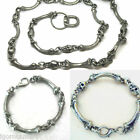 Unisex Vintage Silver Gray Bone Skull Necklace Bracelet Emo Chain Rocker Style