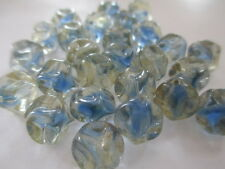 50pcs VINTAGE West German Aqua & Crystal 10mm Pinched Glass Beads!!