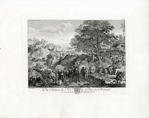 Genre, Landschaft, Dorffest, Dudelsack, Bagpipe, Musik - Kupferstich um 1820