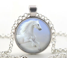 White Horse Necklace Pendant - Silver Jewelry for Women and Girls