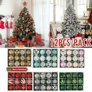 12x 6cm Christmas Tree Balls Baubles Glitter Hanging Xmas Party Ornament Decor