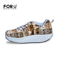 Women's Comfort Running Sneakers Shape Up Fitness Walking Trendy Shoes cats dogs