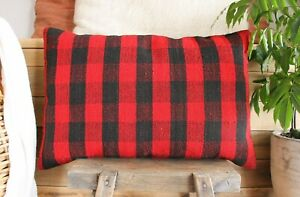 (40*60cm, 16*24inch) Vintage Woven Kilim Covers red black village check