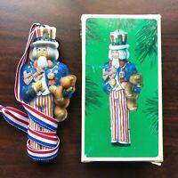 Vintage 1984 Hallmark Uncle Sam Pressed Tin Christmas Ornament Keepsake in Box