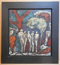 Figures II. Original Expressionist Oil by listed artist Nina Hosali MBE FRSA1965