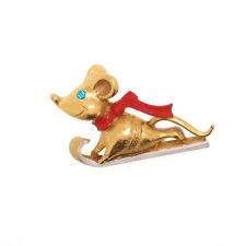 Christmas Brooch Butler & Wilson Mouse on a sledge sled Novelty Pin