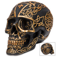 Druid'S Celtic Inscribed Gaelic Black Knot Gothic Resin Skull