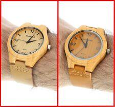 Montres Carlo Bamboo Case Watch Leather Band Men Fashion Round Analog Wristwatch
