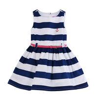 Navy White Striped Baby Kids Girls Sleeveless Summer One-piece Dress W/Belt