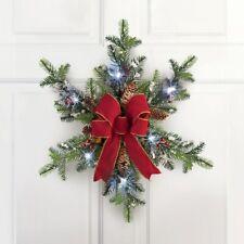 "20"" Diameter Lighted Floral Evergreen Snowflake Christmas Door Welcome Wreath"